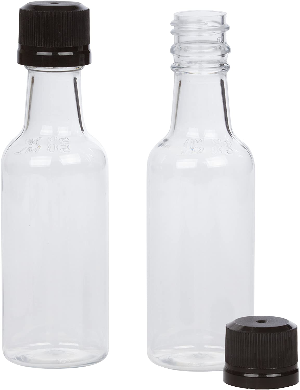 Amazon.com: (12) Mini Liquor Bottles 50ml Black mini empty plastic ...