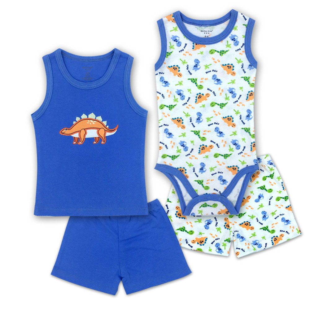Monvecle Unisex Baby 4-Piece Infant to Toddler Summer Bodysuit Shorts Gift Pack Set