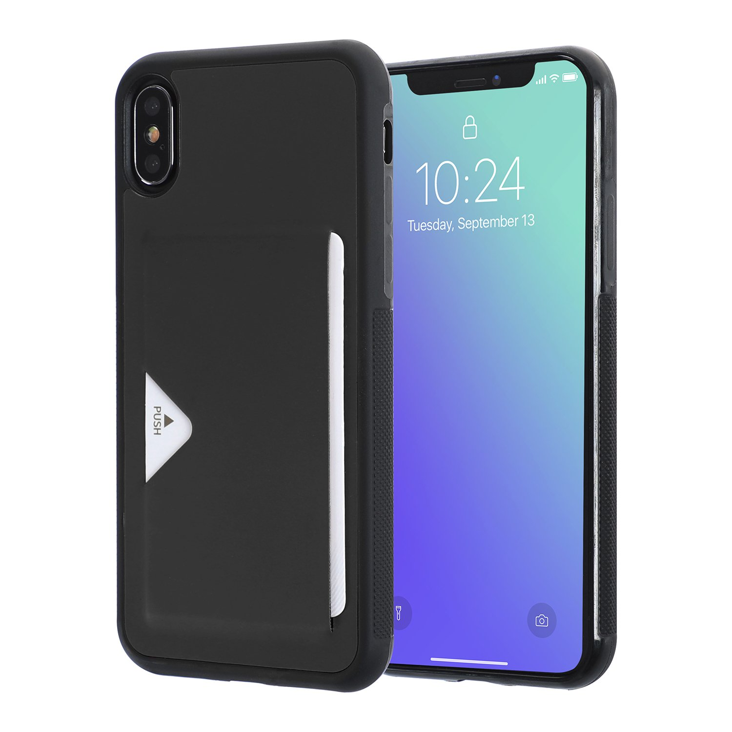 iPhone X Case,iPhone 10 Slim TPU Case Handcrafted Wallet Case Cover with ID Credit Card Slot Holder Protective Shell Slot Case Enhanced Grip Lightweight for Apple iPhone X/iPhone10 5.8''2017-Black