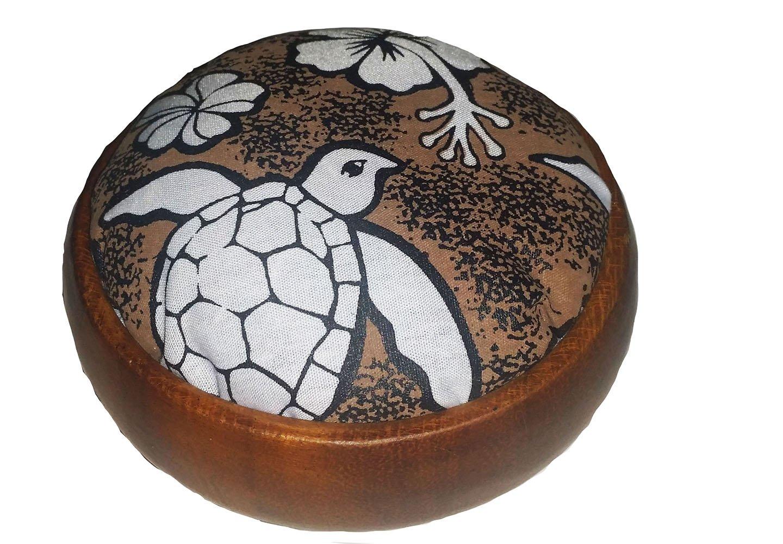 Hawaiian Style Wood Sewing Pin Cushion Turtle Honu 4' x 4' x 1.5' Brown Islander