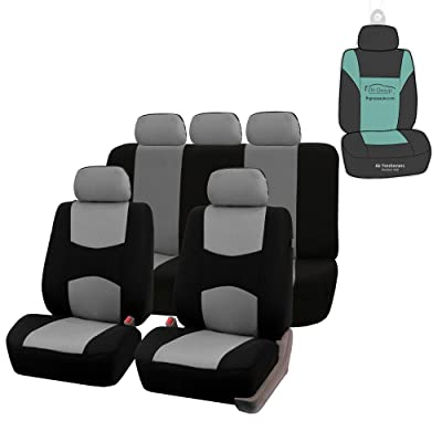 FH Group FB051115 Multifunctional Flat Cloth Seat Covers (Gray) Full Set with Gift - Universal Fit for Trucks, SUVs, and Vans: Automotive