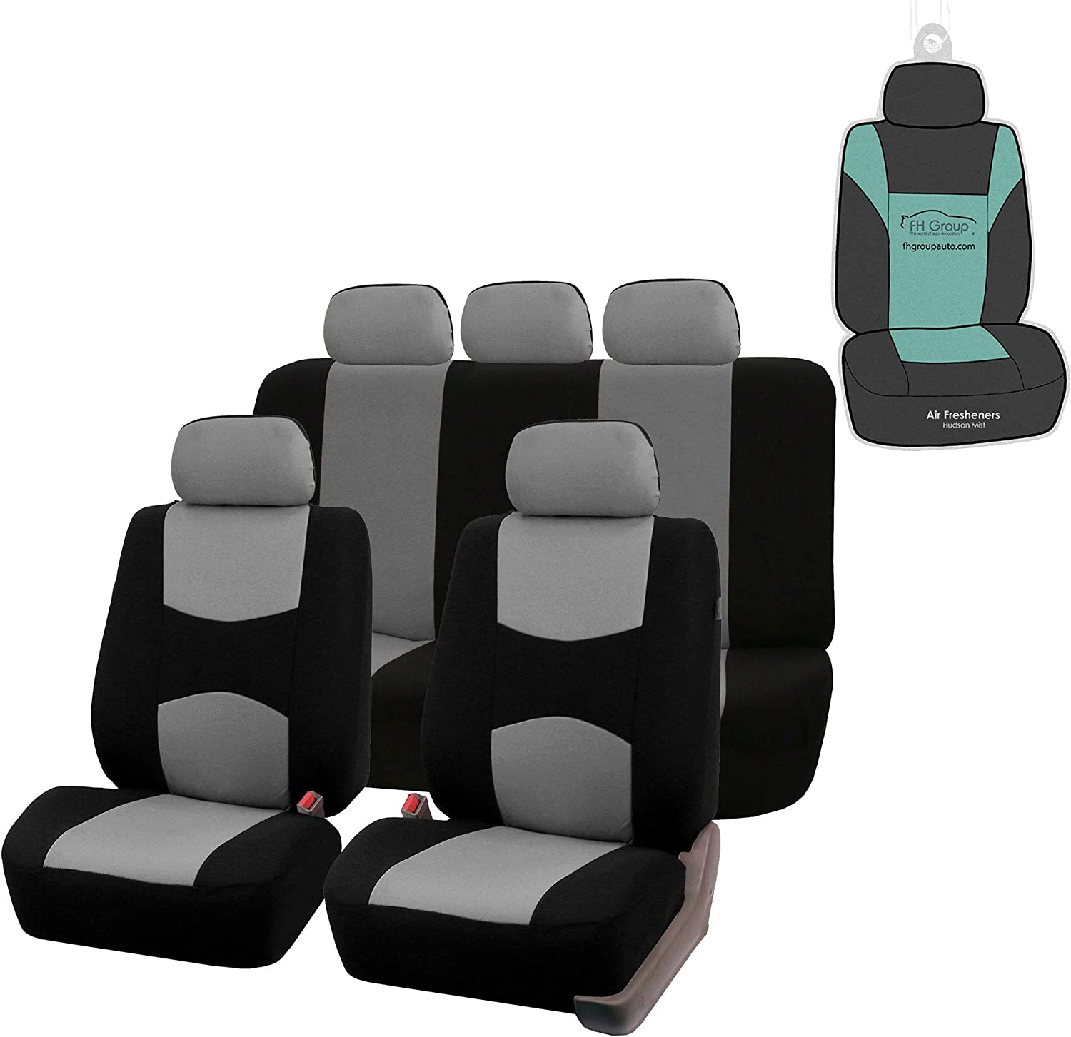Airbag Compatible /& Split FH Group FH-FB051115 Multifunctional Flat Cloth Seat Covers Truck Gray//Black Color or Van SUV Fit Most Car