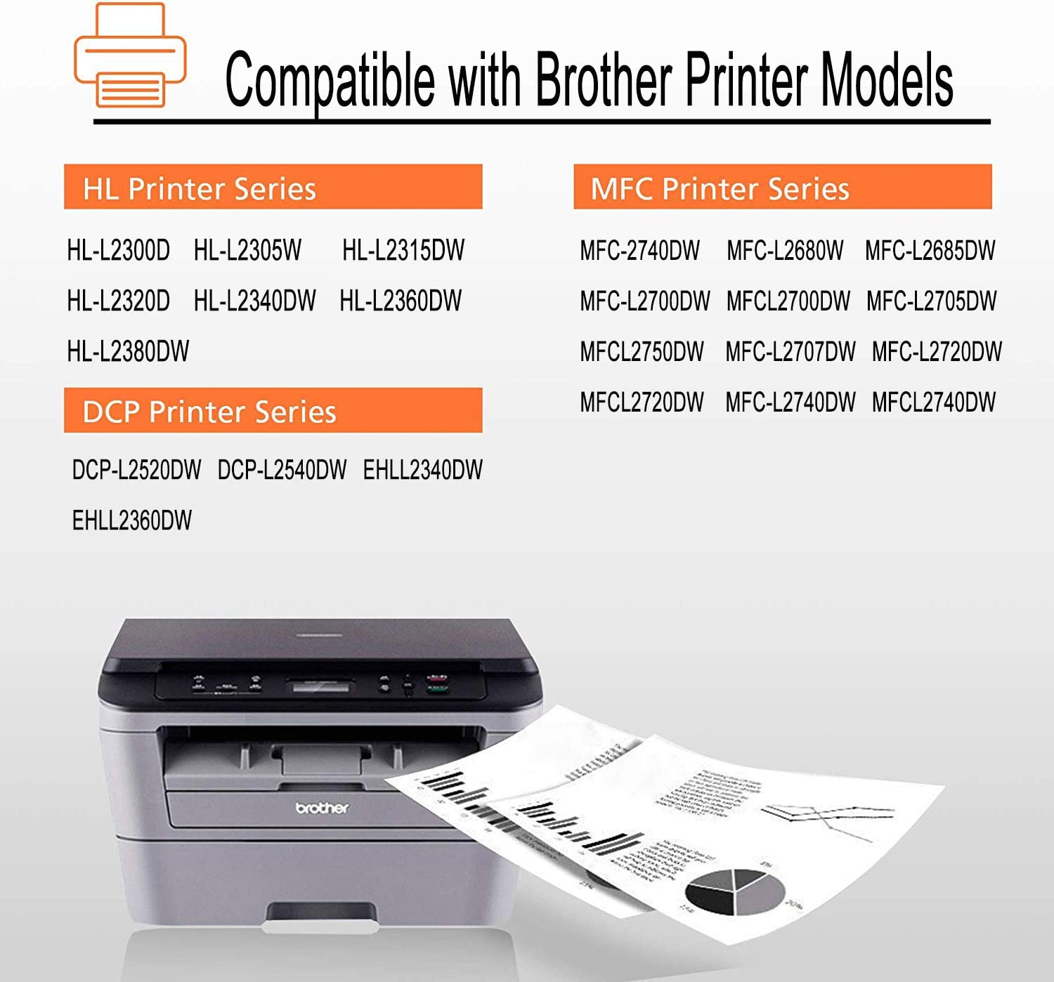 Work with Brother HL-L2340DW HL-L2380DW HL-L2300D MFC-L2700DW MFC-L2740DW DCP-L2540DW Printer Black, 3-Pack JinHan TN660 Compatible Toner Cartridge Replacement for Brother TN-660 TN-630 TN630 Toner