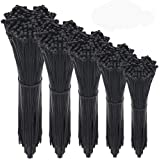 Wire Ties,HMfire 500 Pcs Adjustable & Durable Self-Locking Nylon Zip Cable Ties Heavy Duty, 4/6/8/10/12Inch, 4mm Width, Black
