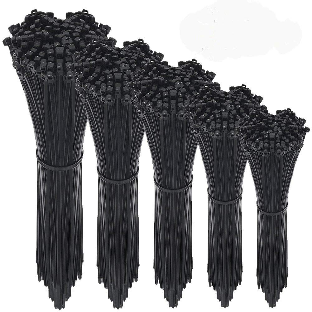 Zip Ties 500 Pcs Adjustable Durable Self locking Black Nylon Zip Cable Ties for Home Office Garage Workshop Heavy Duty