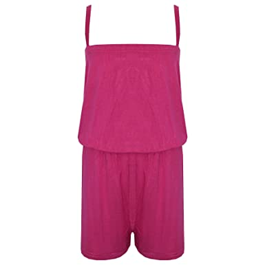 b793908a495c Amazon.com  Kids Girls Plain Pink Color Playsuit Trendy All in One ...