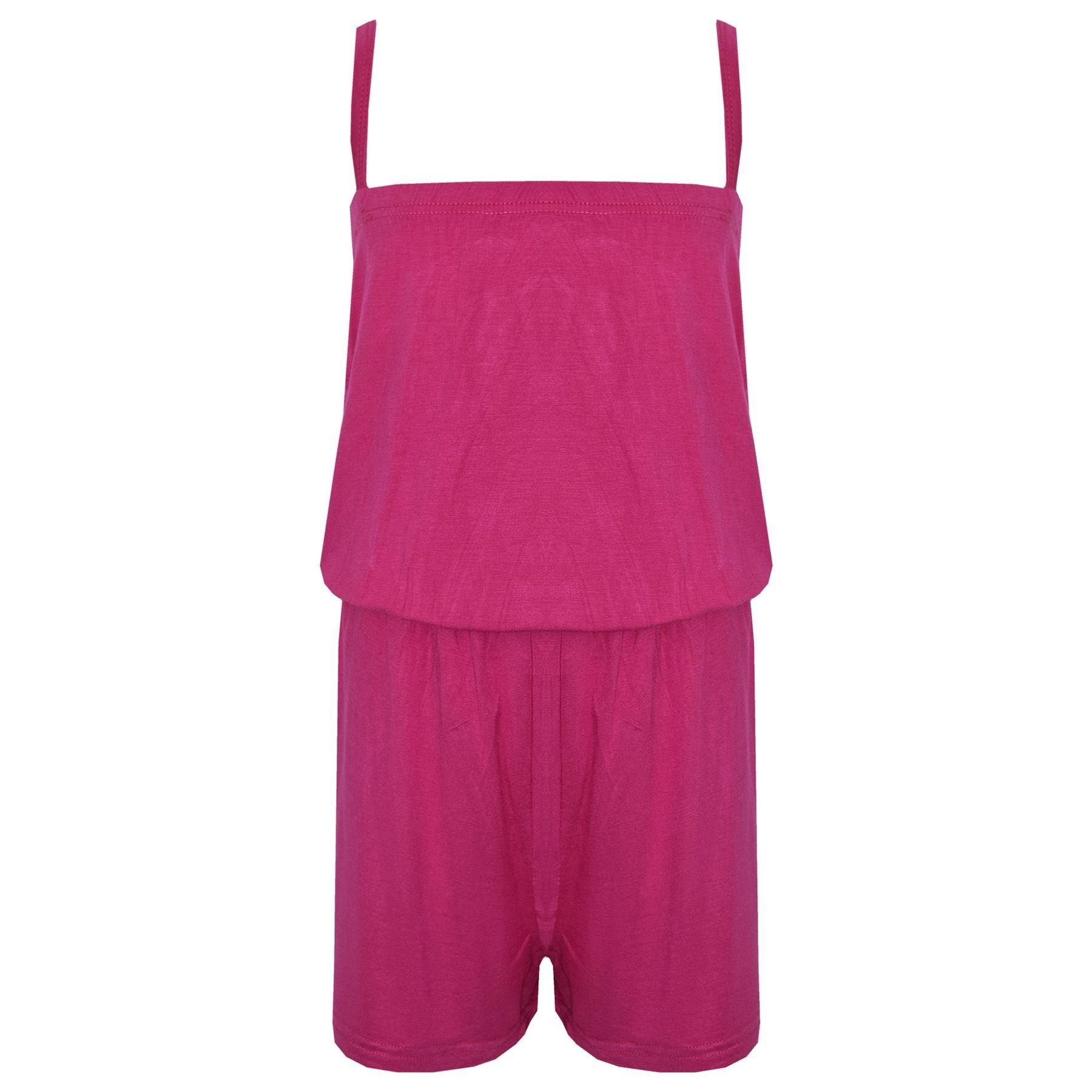 Kids Girls Plain Pink Color Playsuit Trendy All in One Jumpsuit New Age 5-13 Yr