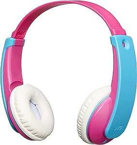 JVC HA-KD9BT-P-E Wireless Bluetooth Headphone with Volume Limiter for Kids, Pink/Blue