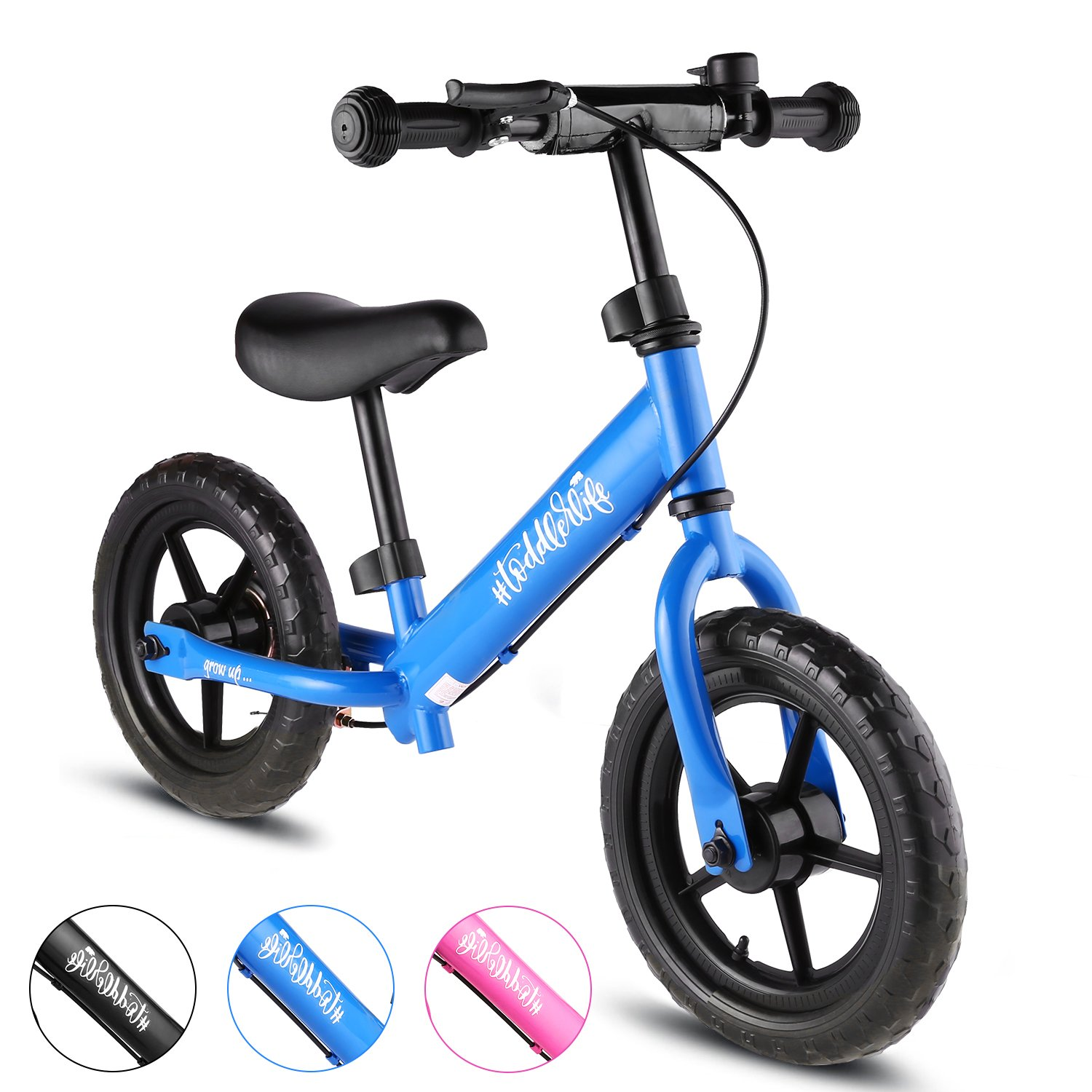 BIKFUN Balance Bike for Kids, No Pedal Traning Children Cycles with Adjustable Handlebar and Seat, Toddler Walking Bicycle with Bell and Brake (Sport-Blue)