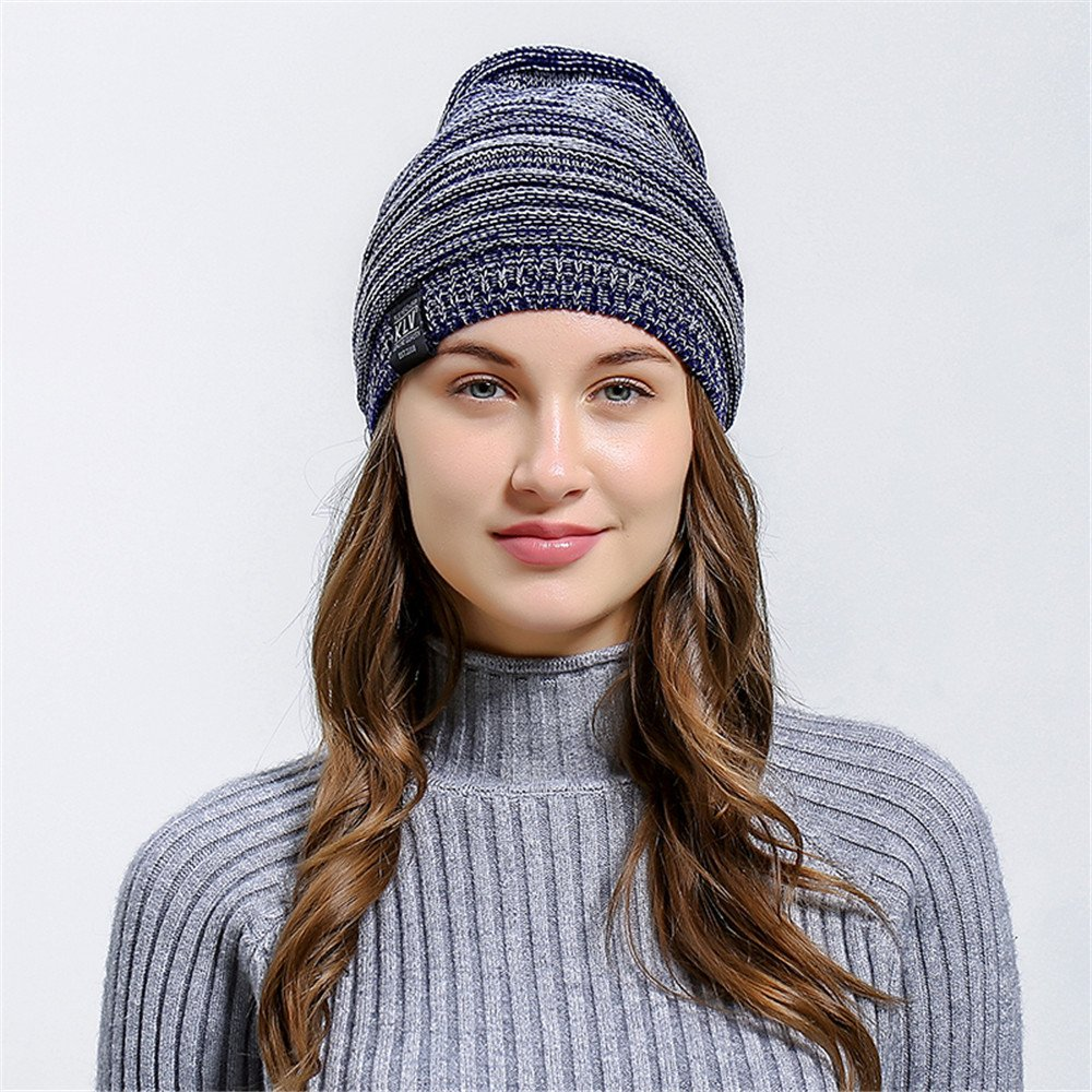 HULKAY Unisex Caps Premium Soft Stretch Pleated Warm Hooded Wool Knitted Hat(Navy) by HULKAY (Image #2)