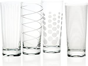 Mikasa Set of 4 Cheers Crystal Highball Tumbler Glasses, Silver