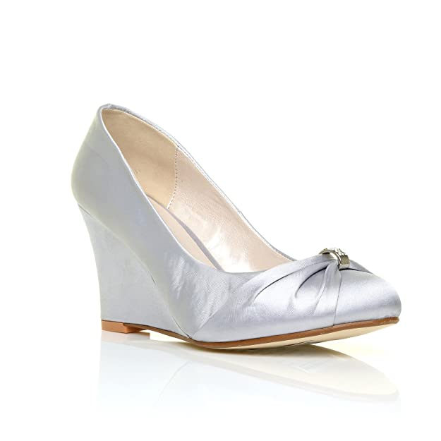 EDEN Silver Satin Wedge High Heel Bridal Court Shoes: Amazon.co.uk: Shoes &  Bags