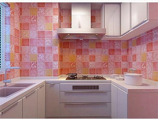 wangjian& Cocina Baño Inodoro Autoadhesivo Mosaico Papel Pintado Pegatinas a Prueba de Aceite A Prueba de Agua Azulejos Pared Wallpaper Vinilos Pared, 60Cmx3M, D: Amazon.es: Hogar