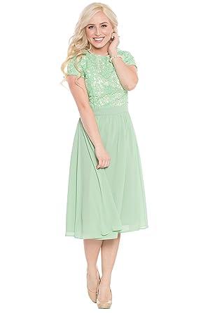 Jen Olivia Lace Chiffon Modest Dress Modest Semi Formal Dress