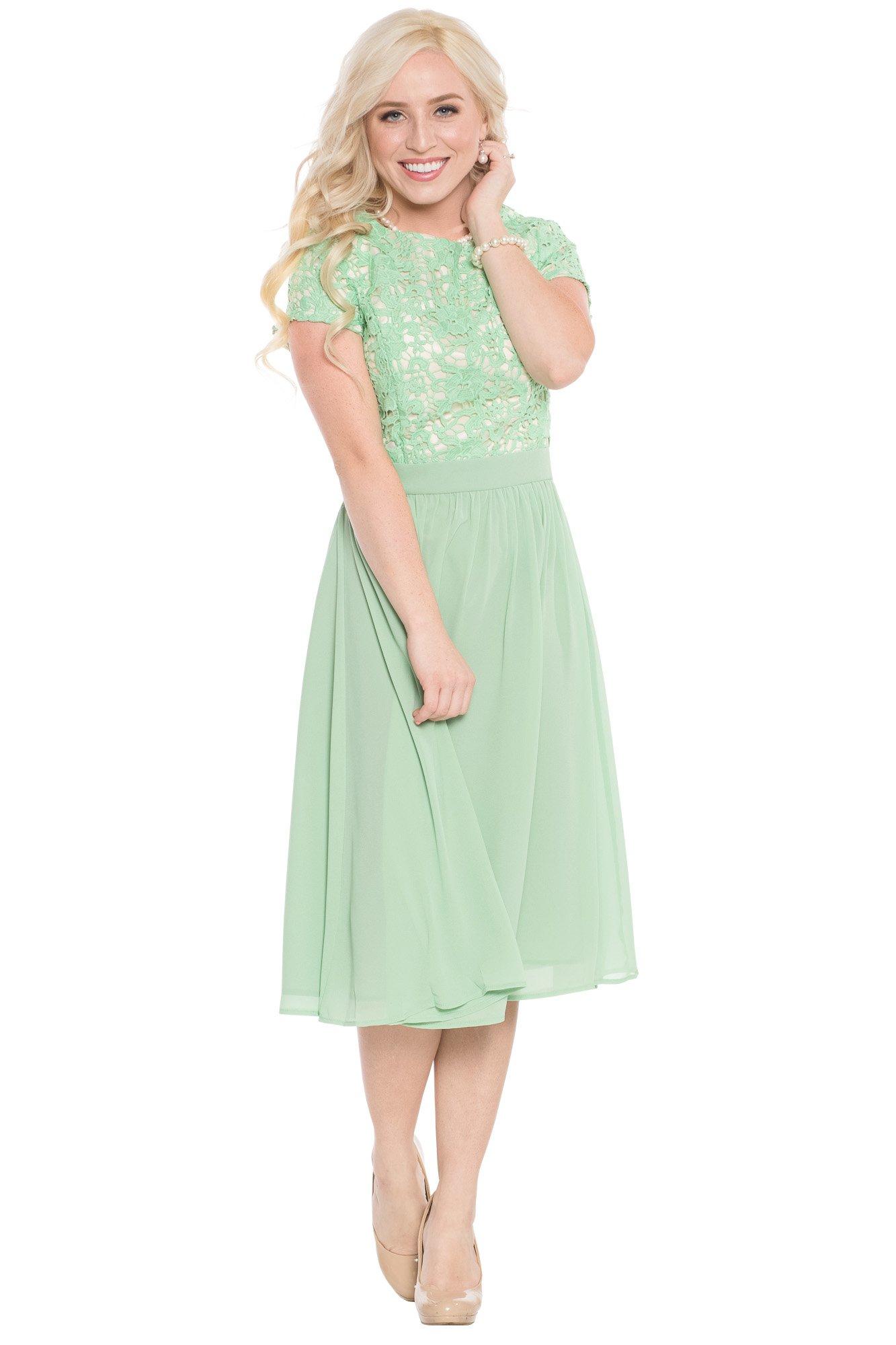 Jen Olivia Lace & Chiffon Modest Dress In