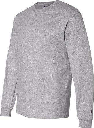 b3ccf229 Amazon.com: Champion 5.2 oz. Long-Sleeve Tagless T-Shirt: Clothing