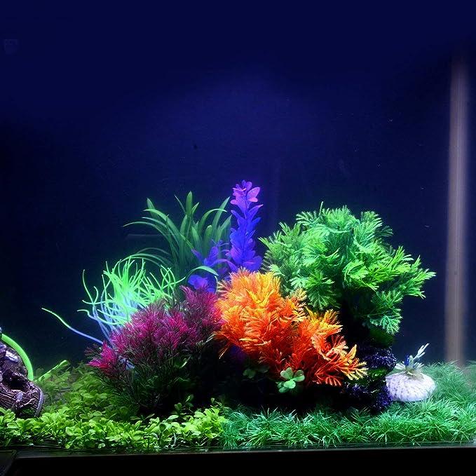 Saim - Plantas Artificiales de plástico para Acuario, Decoración de Acuario Realista, Hojas acuáticas de Césped y Paisaje, Multicolor, 5,1 cm de Altura: ...