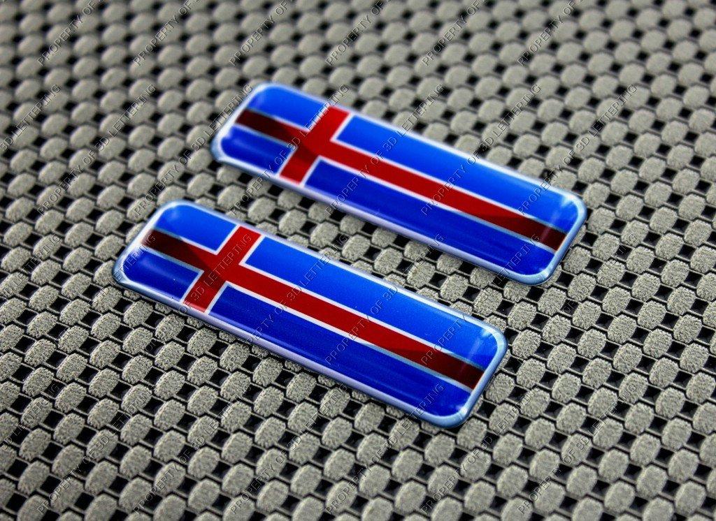 3D Lettering Juego de pegatinas con la bandera de Islandia 3D