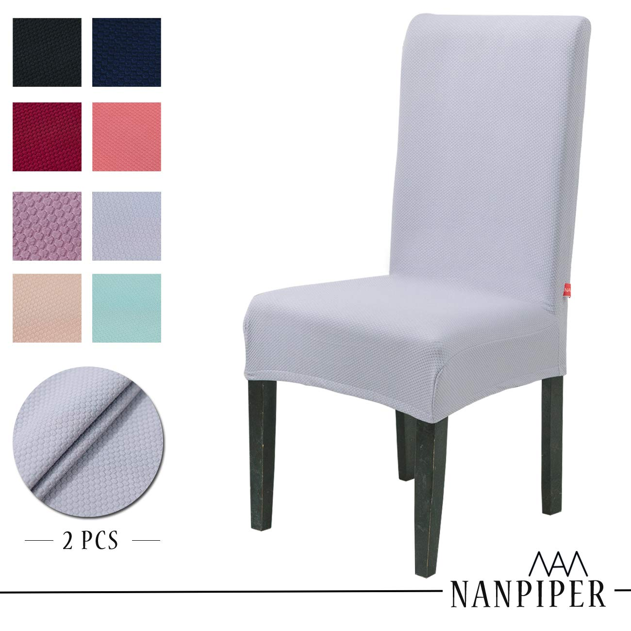 NANPIPER Dining Chair Slipcovers Washable Stretch Chair Covers for Dining Room Spandex Stretch Fabric Home Décor Set of 4 Beige NCC002-8