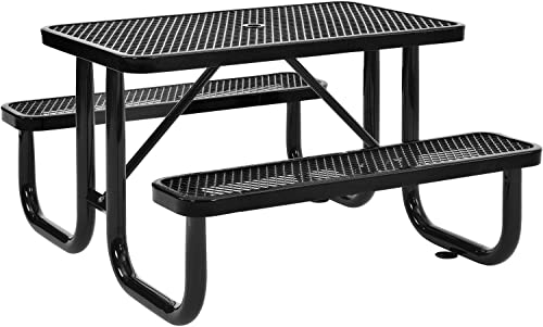Global Industrial 4 ft. Expanded Metal Rectangular Outdoor Steel Picnic Table, Black