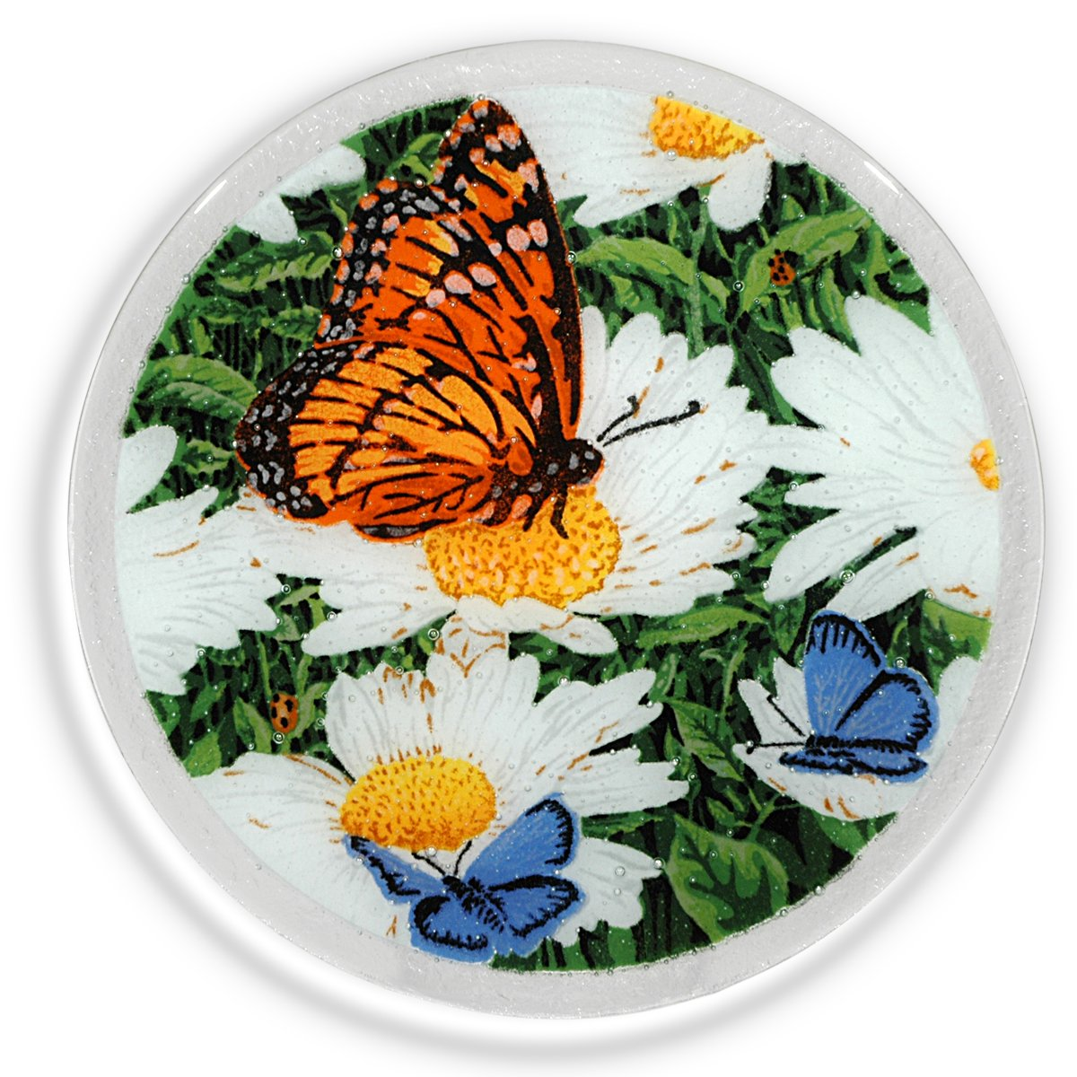 Peggy Karr Glass Handcrafted Art Glass Daisies and Butterflies 11'' Round Plate, Multicolor Floral Design by Peggy Karr