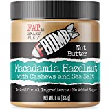 FBOMB Macadamia Nut Butter: Keto Fat Bombs, Natural Roasted Macadamia Nuts | High Fat, Low Carb Snack, Energy | Paleo, Healthy, Keto Snacks | Macadamia Hazelnut - 8oz Jar