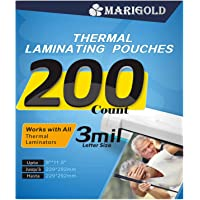 """MARIGOLD 200-Pack Thermal Laminating Pouches - 3 mil Letter Size, 9""""x11.5"""", Laminating Sheets Film for Laminator Machine…"""