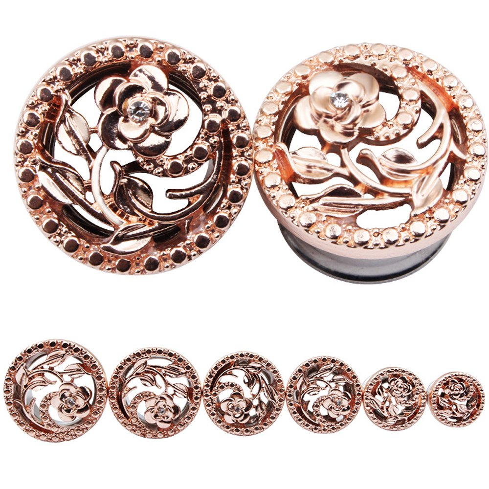BODYA Unisex Stainless Steel Ear Tunnels Round Plugs with Hollow Flower Silver and Gold Piercing Jewelry, Two Pairs/4Pcs (Gauage:2g(8mm)) by BODYA (Image #3)