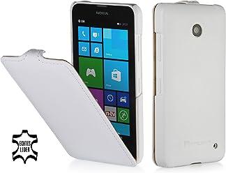 StilGut Housse UltraSlim en cuir pour Nokia Lumia 630 & Lumia 630 Double SIM, en blanc vintage