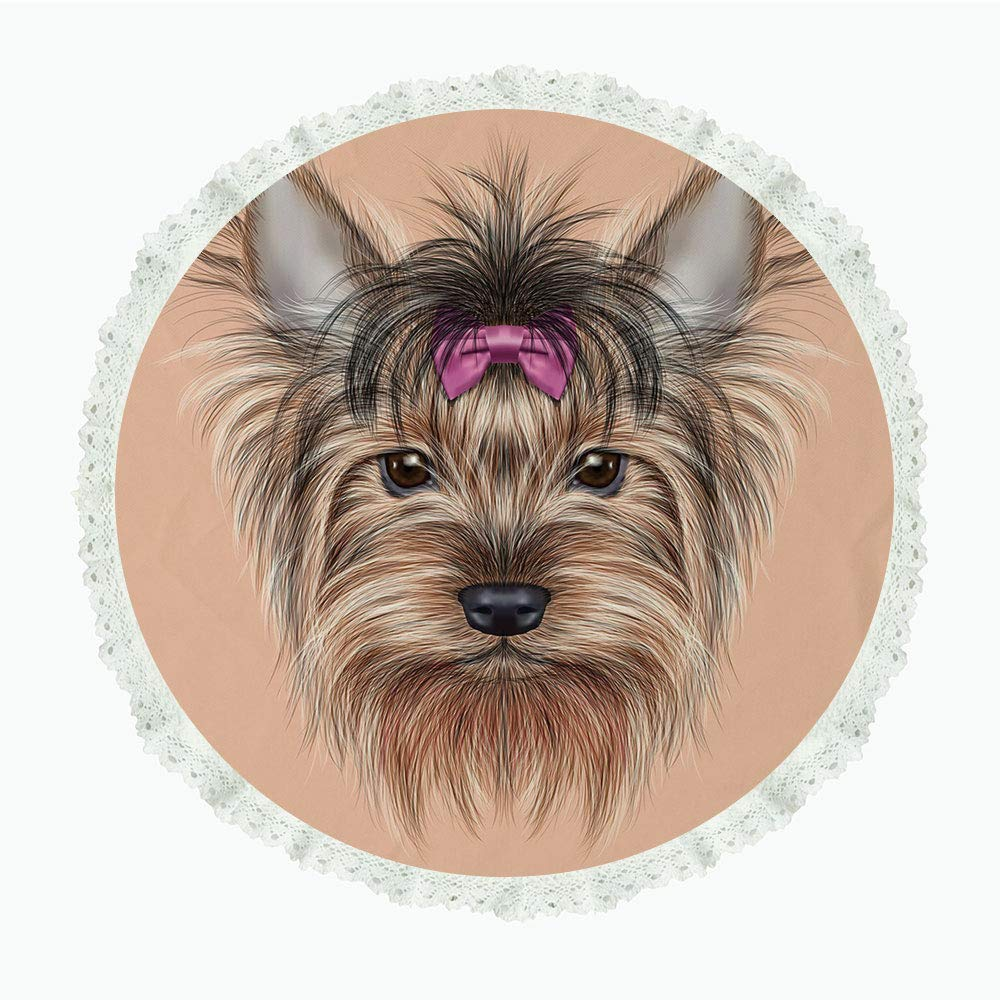 """iPrint 65"""" Round Polyester Linen Tablecloth,Yorkie,Realistic Computer Drawn Image of Yorkshire Terrier with Cute Ribbon Animal Decorative,Salmon Light Brown,for Dinner Kitchen Home Decor"""