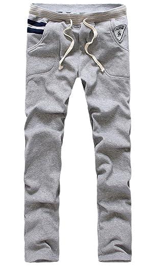 Men's Casual Sport Fleece Jogger Harm Pants Classic Slim Fit Trousers Grey