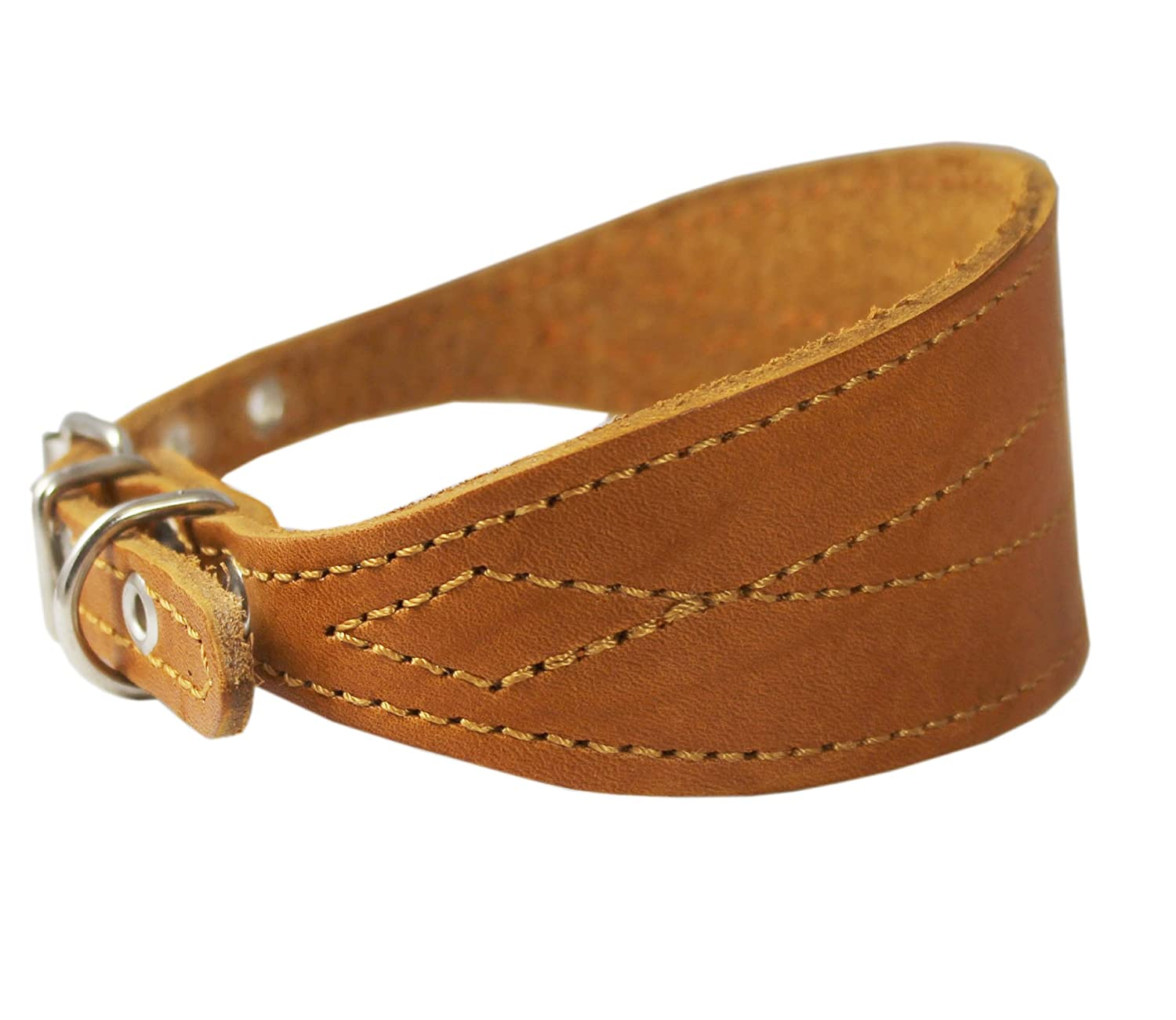 Tan Real Leather Tapered Extra Wide Whippet Dog Collar 2  Wide, Fits 11.5 -15  Neck, Medium
