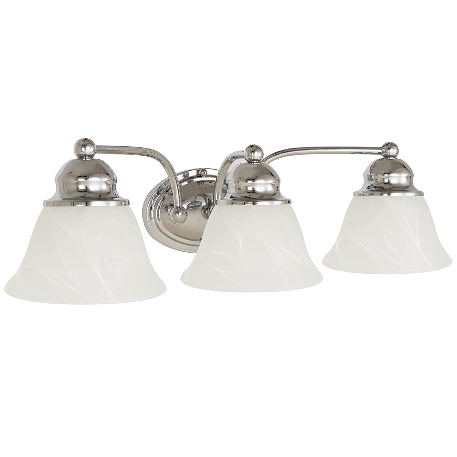 Kira Home Carlisle 21 3-Light Vanity Bathroom Light with Alabaster Glass, Polished Chrome