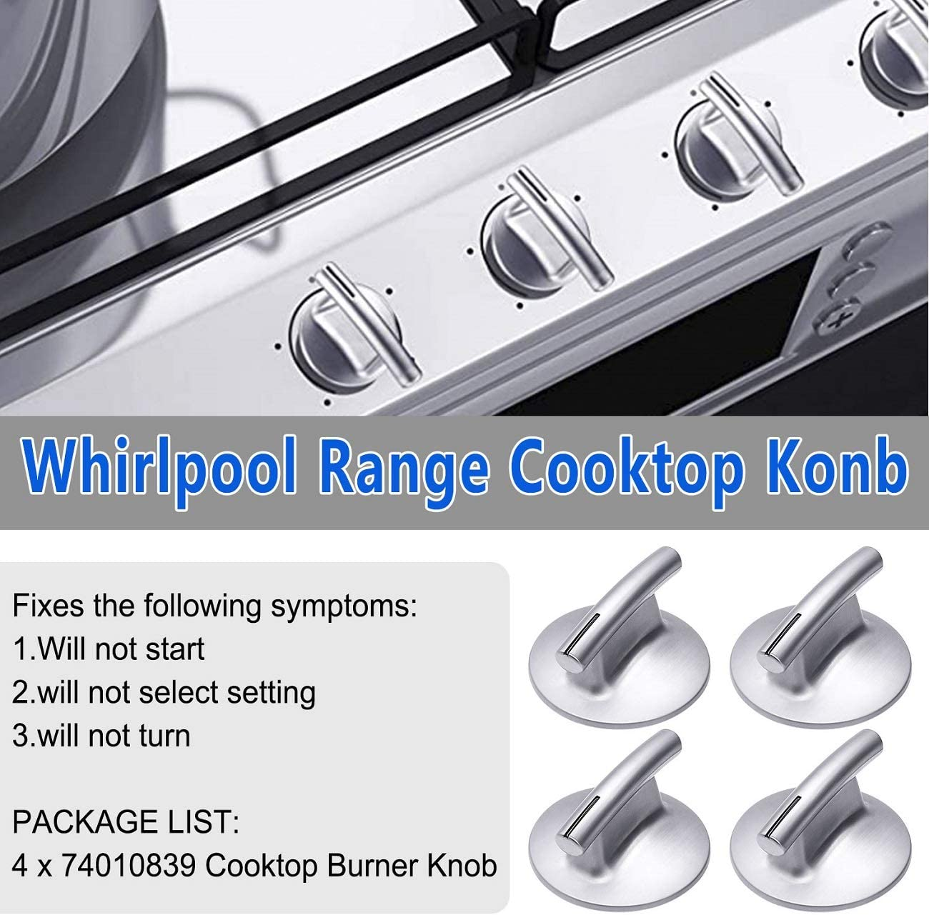 WP74010839VP Upgraded PS11744413 74010839 Cooktop Burner Knob Compatible with Whirlpool Range,4 Pack Replacement Part for 7737P372-60