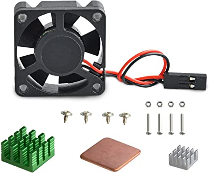 Aukru sin escobillas DC 5V 0.2A Ventilador + los disipadores de calor para Raspberry Pi 2 modelo B / Raspberry Pi 3 ...