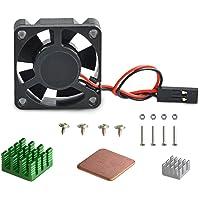 Aukru kit de Refroidissement Dissipateur Thermique en Aluminium + Ventilateur Brushless DC Fan pour Raspberry Pi 3 Model B+ / Raspberry Pi 3 Model B/Raspberry Pi 2 modele B et RasPi B+ (B Plus)