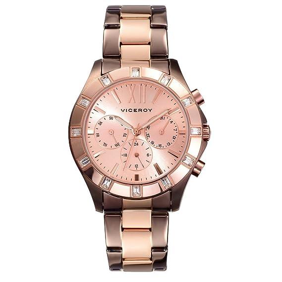 Reloj Viceroy de Mujer. Modelo 46832-97. Esfera redonda de color cobre: Amazon.es: Relojes