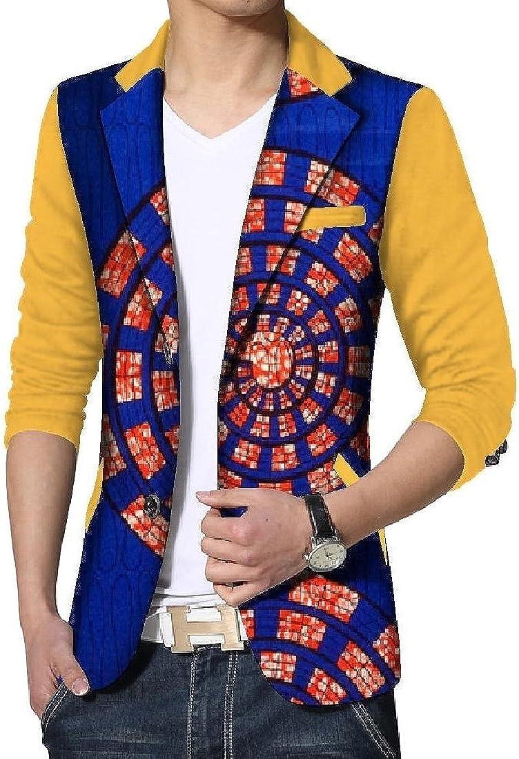 Kankanluck Mens Casual Batik Sweatshirt Dashiki Graphic Cozy Small Blazer