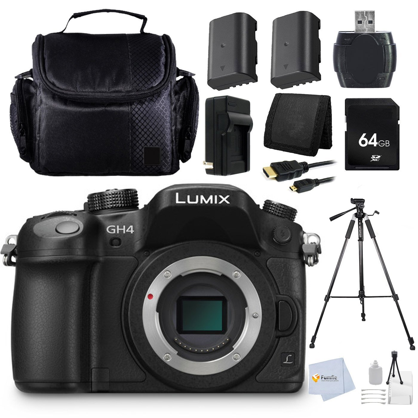 Panasonic LUMIX GH4 DMC-GH4KBODY 16.05MP Digital Single Lens Mirrorless Camera with 4K Cinematic Video (Body Only) + 64GB Memory Card + 72'' Tripod + Memory Card Reader + 2 Batteries + Charger & more by Fumfie