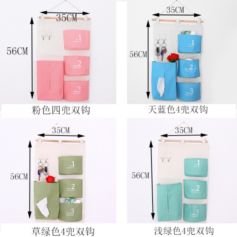 Storage Bag Door Behind Wall-Mounted Dormitory Bedroom Storage Bag Cloth Large, Pink
