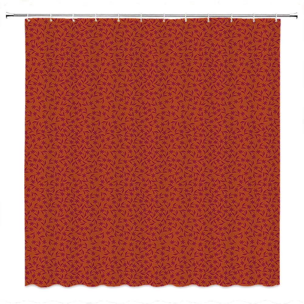 SATVSHOP Bathroom Shower Curtain Sets-for Master, Kid's, Guest Bathroom-Floral Spring Autumn Season Time Flower Inspired Image with Leav Artwork Scarlet and Maroon.W84 x L72 inch by SATVSHOP (Image #1)