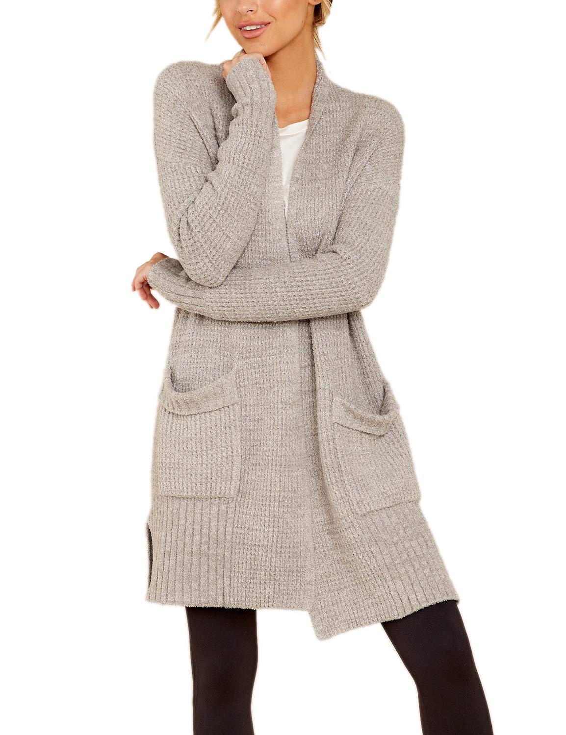 BMJL Women's Long Sleeved Cardigan Solid Color Sweater Warm Side Slits Longline with Pockets Grey