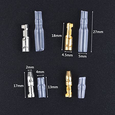 ATPWONZ 100Packs 3.9mm Brass Bullet Male /& Female Wire Terminals Connector for Motorcycle Scooter Car Truck//with Insulation sleeve