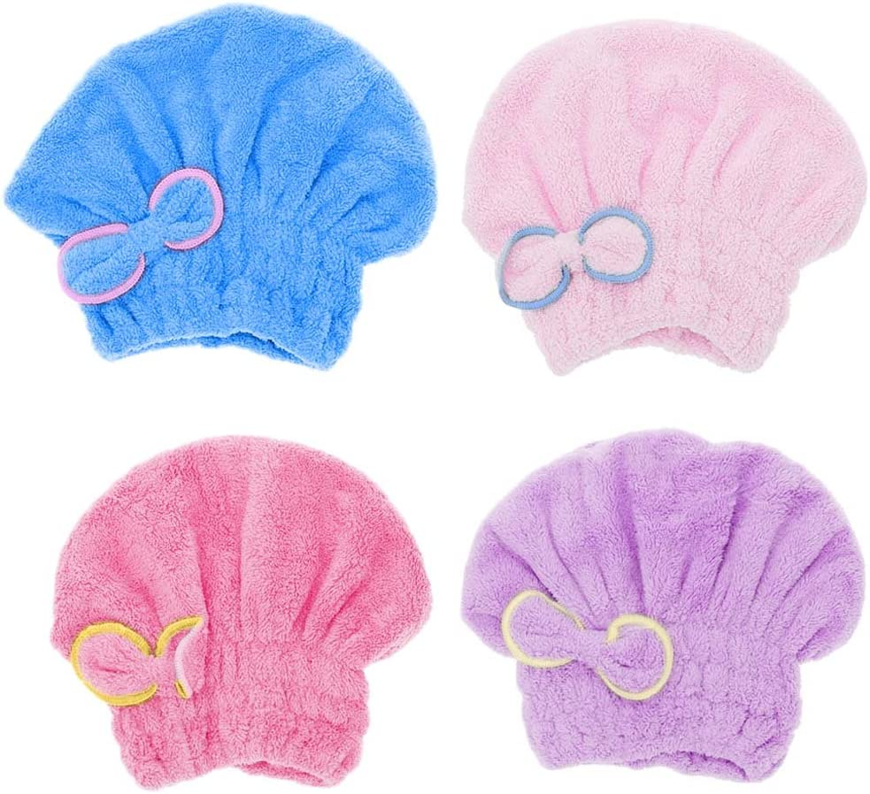 Display08 cuffia asciugacapelli da donna con fiocco Blue in microfibra velluto 9.44 x 7.48