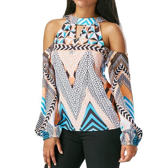 Fossen Blusa de Geometría Retro de Mujer Fuera del Hombro Camiseta de Blusa de Bohemia Tops