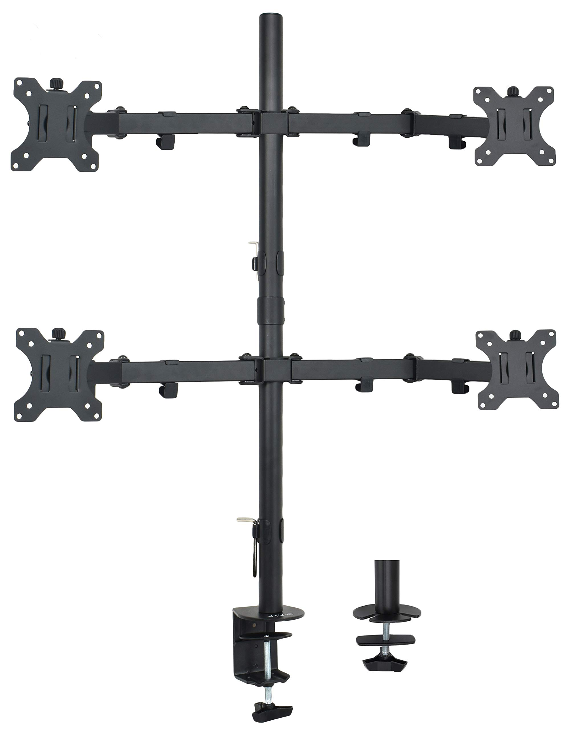 VIVO Quad Monitor Desk Mount, Heavy Duty Stand, Full Adjustable Arms and Grommet Mounting Option | Holds 4 Screens up to 30 inches (STAND-V004) by VIVO