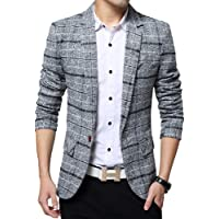 BiSHE Mens Plaid Cotton Blend Tweed Blazer Coat Smart Formal Dinner Suits Jacket Men