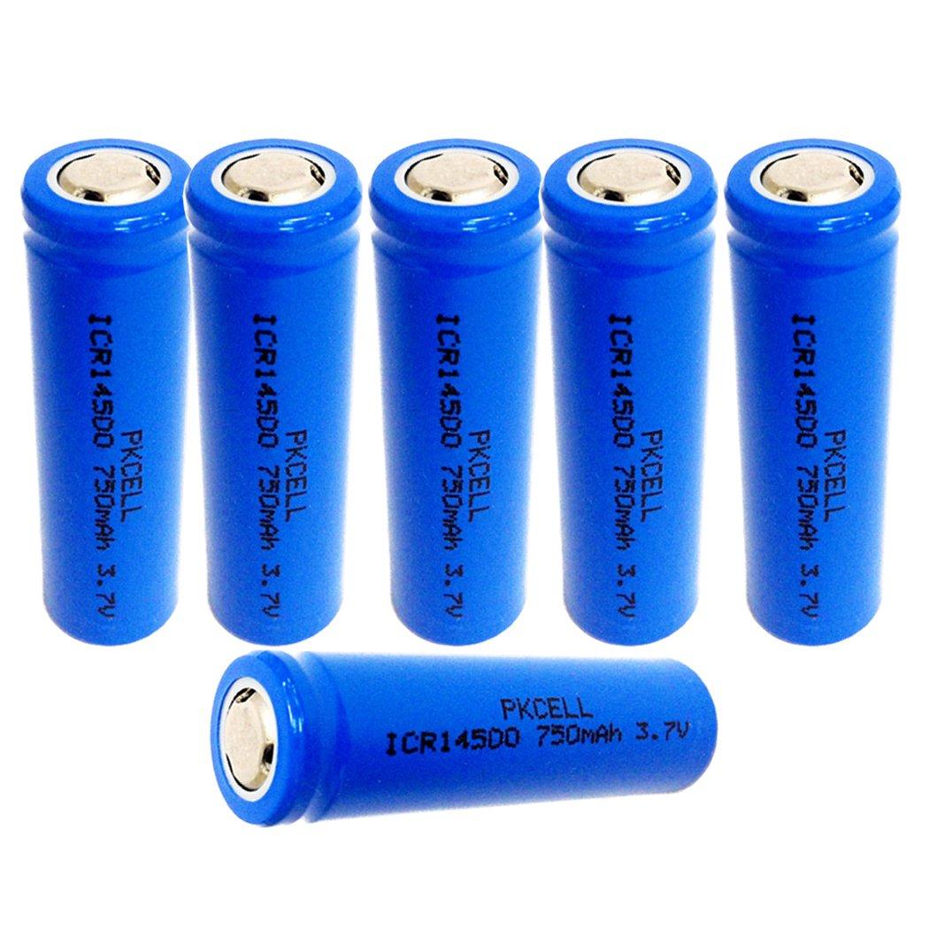 AA ICR14500 3.7V 750mah Li-ion Rechargeable Battery 6Pcs