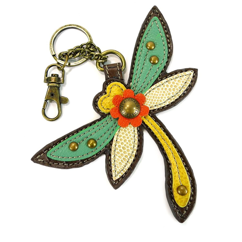 Chala Key Fob-Dragonfly, Yellow/Teal/White