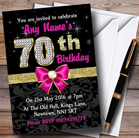 pink black gold diamond 70th birthday party personalised invitations